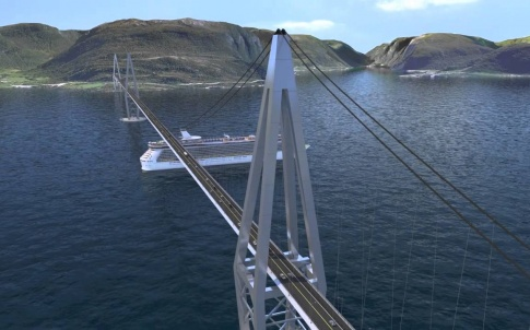 A concept rendering for the E39 fjord bridge in Nirway
