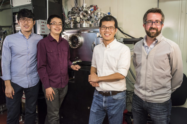 From left, Jongwoo Lim, Yiyang Li, and William Chueh of Stanford/SLAC and David Shapiro of Berkeley Lab (Credit: Paul Mueller)
