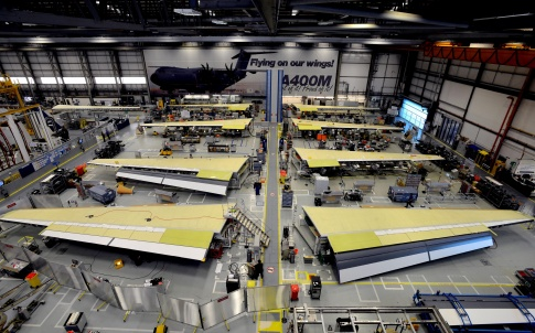 Manufacture of wings for the A400M military transport aircraft in Broughton, North Wales. Credit: Airbus