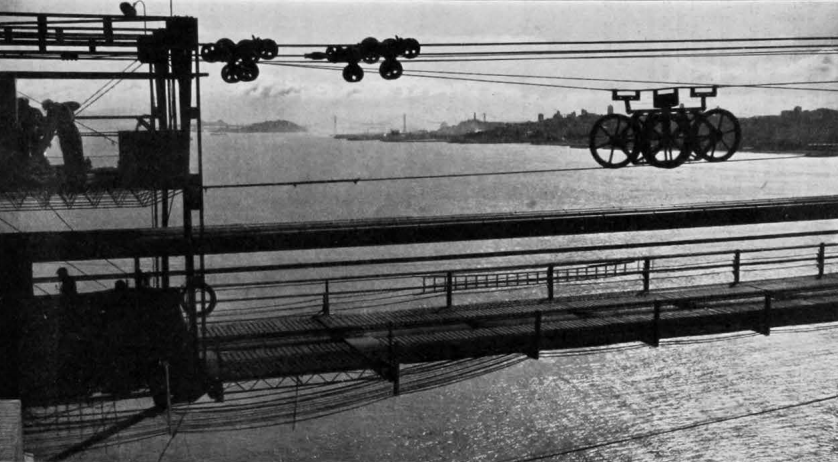 The cables were spun 200metres above the Pacific Ocean