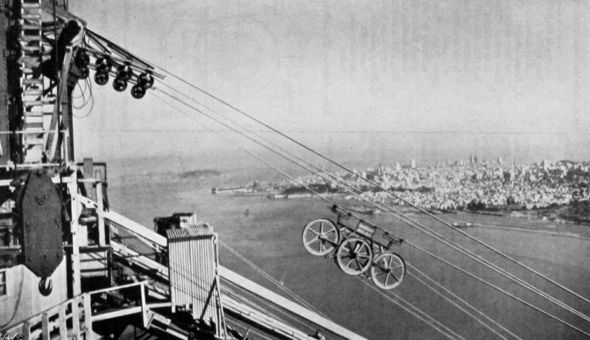 The spinning carriage, with two wheels, makes its way across the span