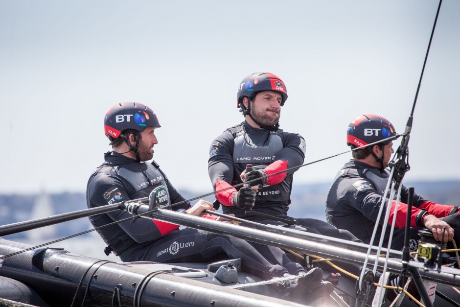 Land Rover BAR Training on the Solent. (L-R) Skipper - Ben Ainslie, Wing Trimmer - Paul Campbell-James, Trimmer - Nick Hutton (c) Harry KH/Land Rover BAR