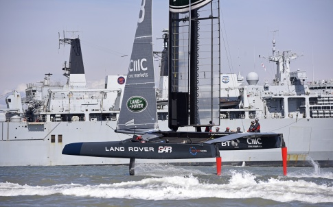 12 April 2016 Land Rover BAR sailing T3 for the first time off Portsmouth UK. Photo: Rick Tomlinson/Land Rover BAR