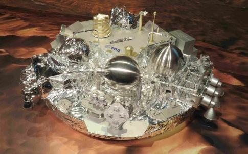 Model of Schiaparelli, lander of ExoMars Trace Gas Orbiter, seen at ESOC in Darmstadt, Germany