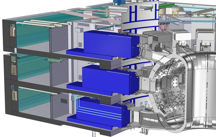 Cutaway diagram showing casks at three levels of the ITER tokamak complex