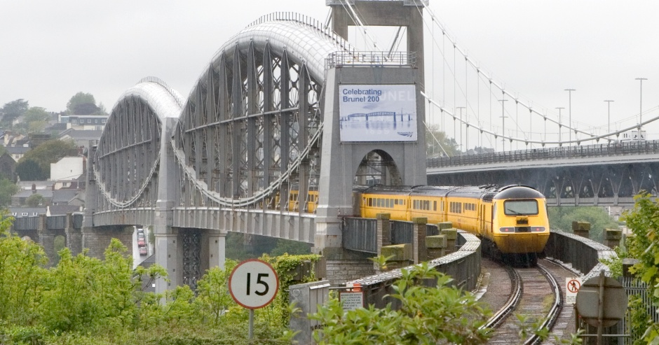 16th May 2006 Network Rail @ Brunel Railway Bridge Plymouth New Measurement Train passes across bridge