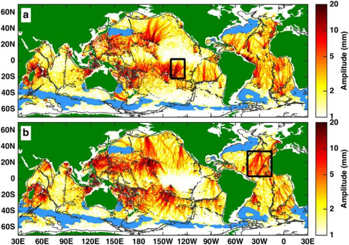Internal tides in the Atlantic ocean, measured between 1992 and 2012. Image: Zhongxiang Zhao