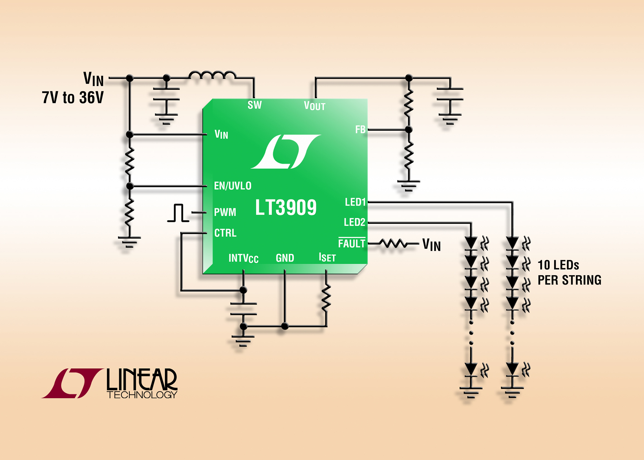 constant current led driver can drive two strings of up to 10 ledsconstant current led driver can drive two strings of up to 10 leds at 50ma
