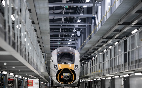One of the new InterCity trains on the production line