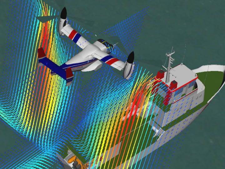 Air flows combine around rotorcraft and moving ships to create sudden turbulence