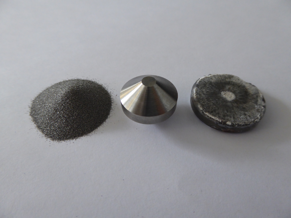 Left to right: Titanium powder obtained from rutile sand, Field Assist Sintered double cone preform, then pancake forging