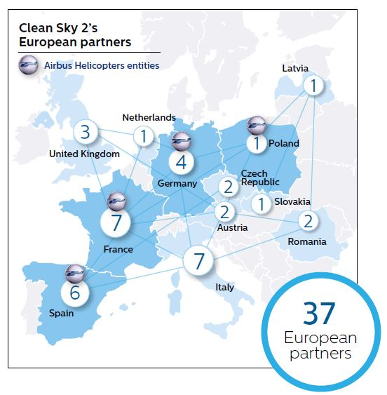 Airbus's Clean Sky 2 partners are spread across Europe