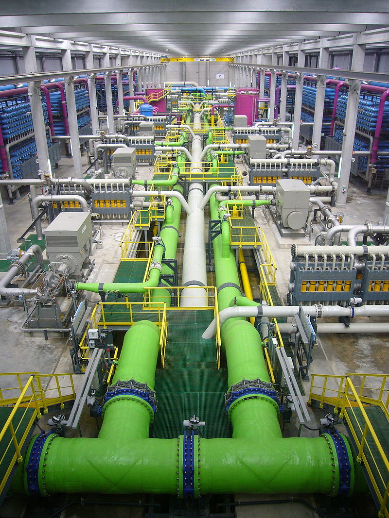 Reverse osmosis plants, such as this on near Barcelona, depend on membrane technologies and are large energy users