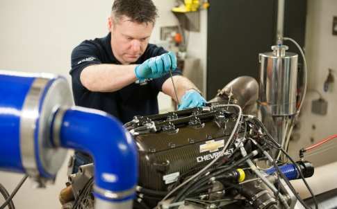 Chevrolet IndyCar engine on the dyno at Ilmor