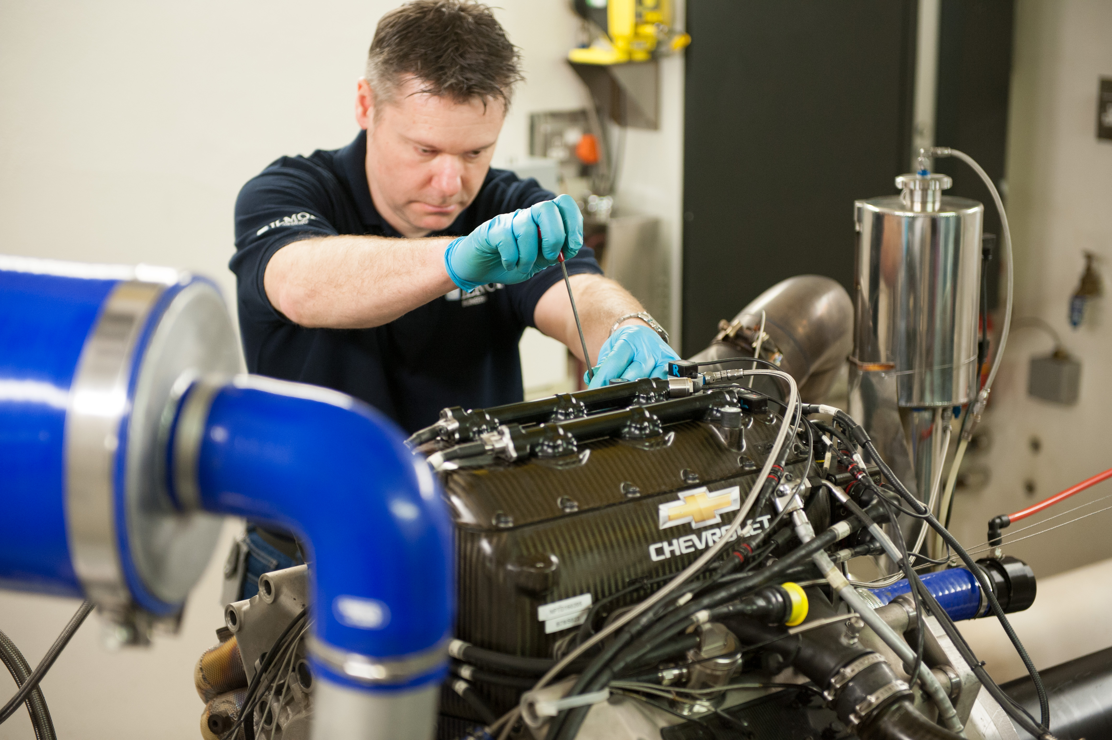 Chevrolet IndyCar engine on the dyno at Ilmor
