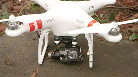 Thermal and visible cameras can be mounted on drones