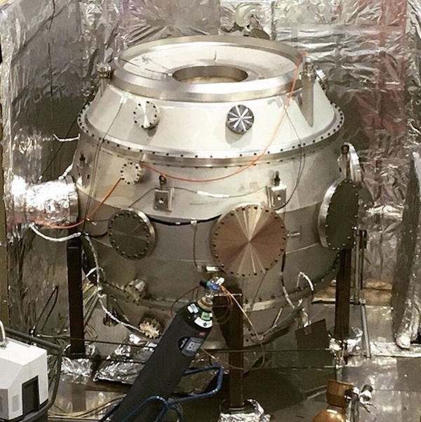 The inner vacuum vessel of the ST40 Tokamak being vacuum tested