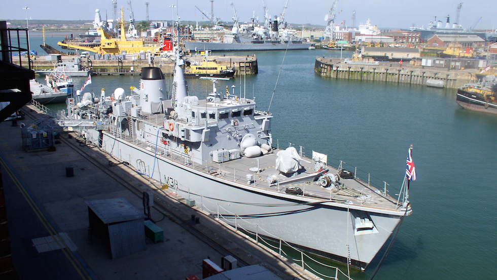HMS Atherstone docked at Portsmouth Naval Base