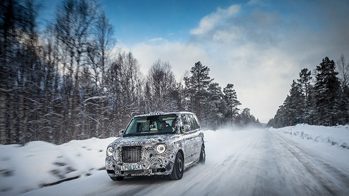 London taxi cold weather test