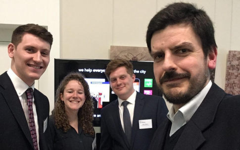 [left to right] students Patrick Gregory, Lottie Macnair and Matthew Mears with Dr Theo Tryfonas