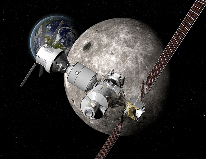 Boeing rendering of DSG in lunar orbit