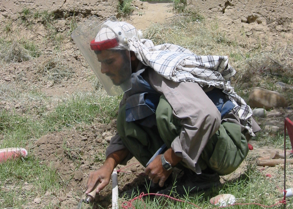 A HALO deminer working in Sayad District, Sari Pul Province, Afghanistan (Photograph ©HALO Trust)