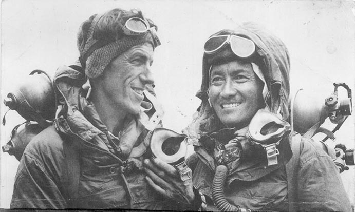 Sir Edmund Hillary (left) and Tenzing Norgay