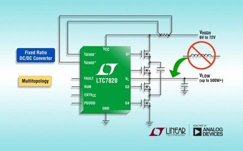 72V fixed-ratio DC/DC controller