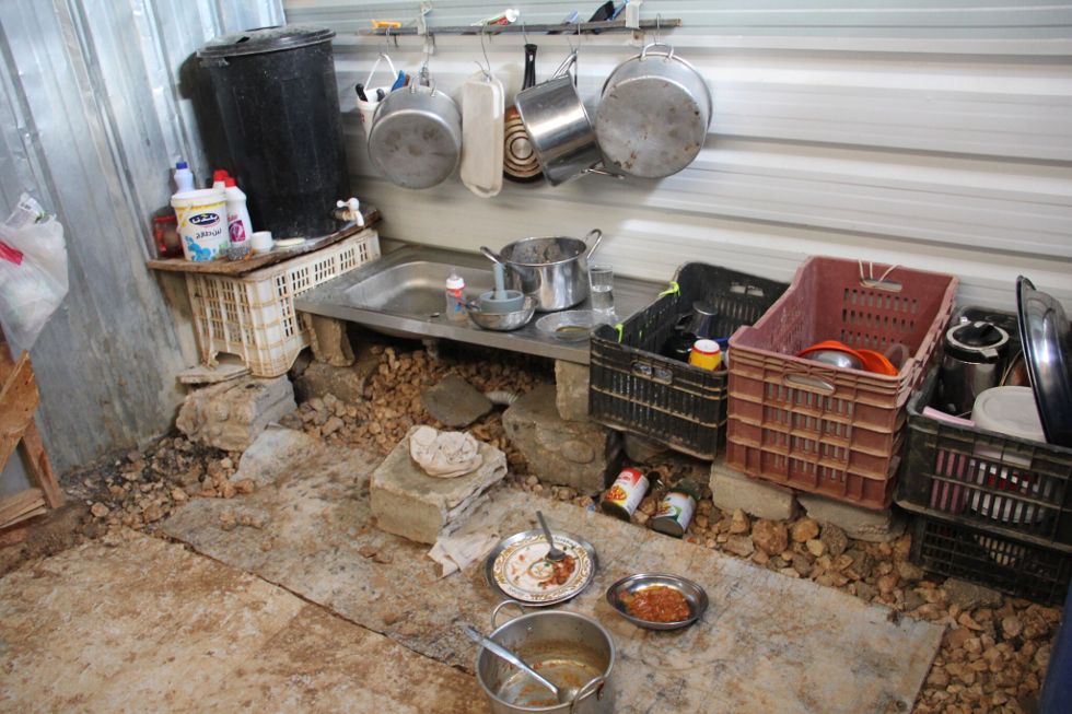 Kitchen in refugee dwelling