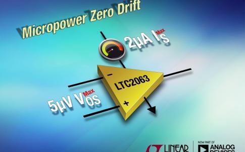 Zero-drift op amp consumes only 1.3μA