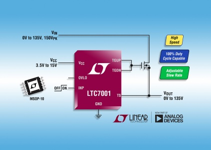 N-channel MOSFET driver provides 100 per cent duty cycle capability