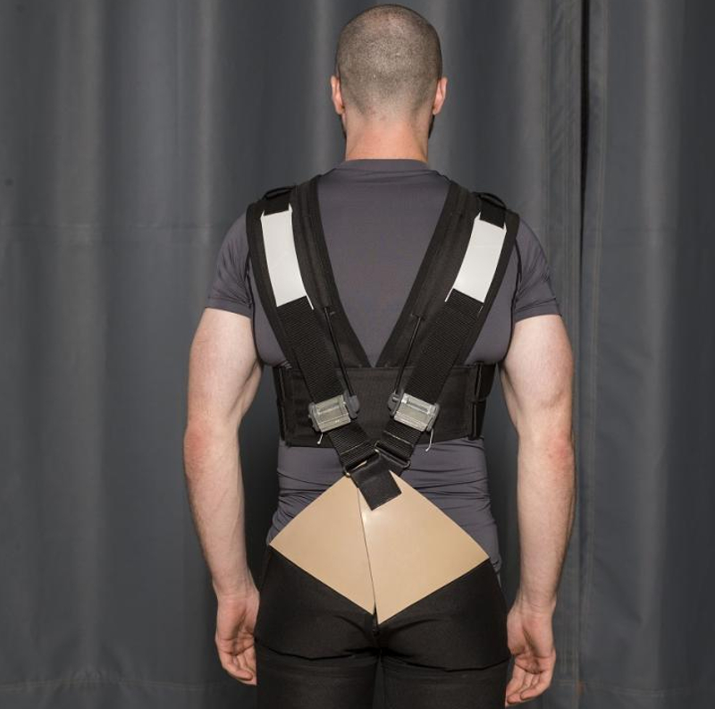 Back pain prevented by biomechanical device