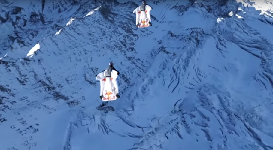 James Bond-style base jumpers leap off mountain into plane