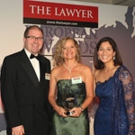 The Lawyer's Joanne Harris with Cuatrecasas partner Sonia Cortes and awards host Mishal Husain