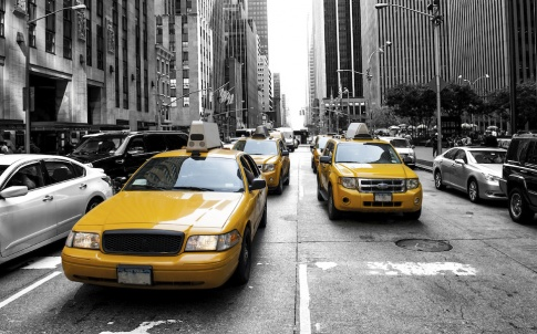 Yellow taxy in a Black and White New York