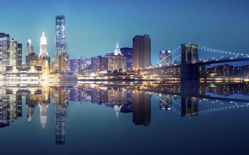 New York City Lights Scenic Bridge View Concept