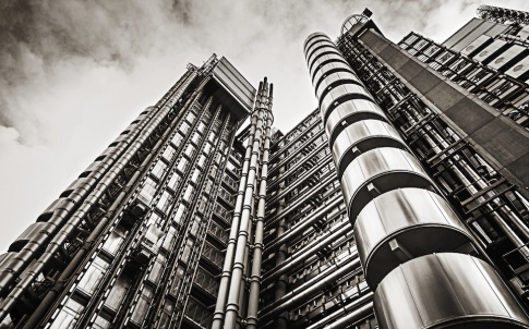 Futuristic business office building of Lloyd's in City of London, London, UK.