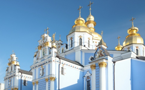 "Cupola (top part) of ""Mykhailiv'skyj Sobor"" (Christian Orthodox cathedral). Kiev-City centre, Ukraine."