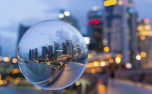 Crystal Ball with Reflection of Singapore CBD Skyline