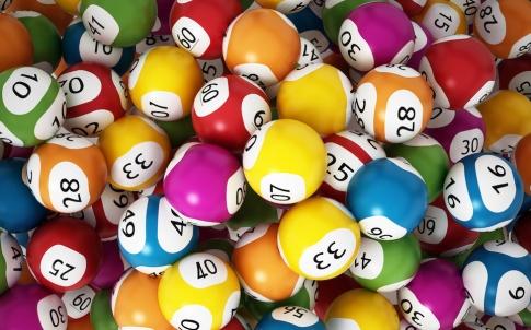 Multi-colored lottery balls.