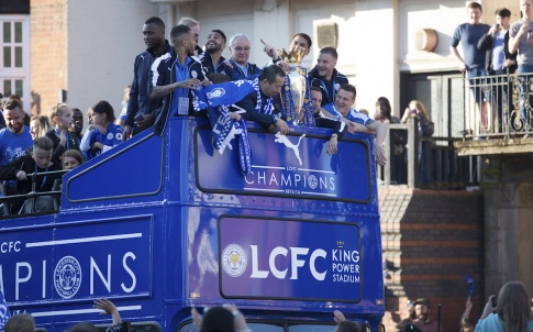 Leicester, United Kingdom May 16, 2016. Leicester City players celebrating premier league champions 2015/2016