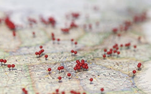 Pins in map for locations near Georgia