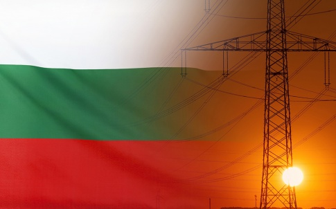 Concept Energy Distribution, Flag of Bulgaria with high voltage power pole during sunset