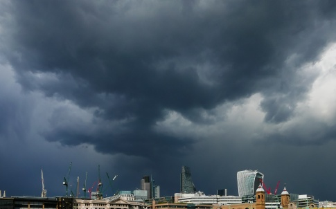 Treatening dark clouds over London.