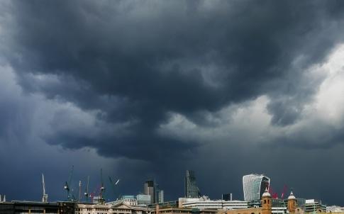 Treatening dark clouds over London.