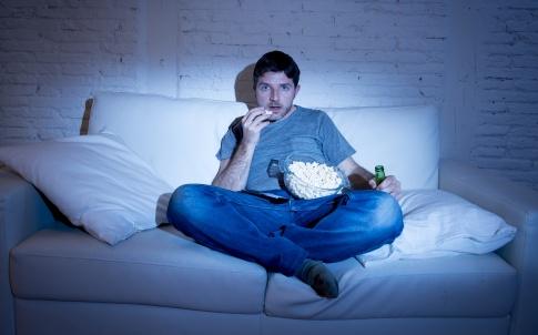 sofa, tv, popcorn