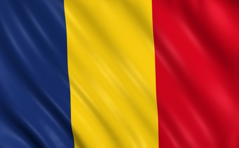 Flag of romania waving with highly detailed textile texture pattern