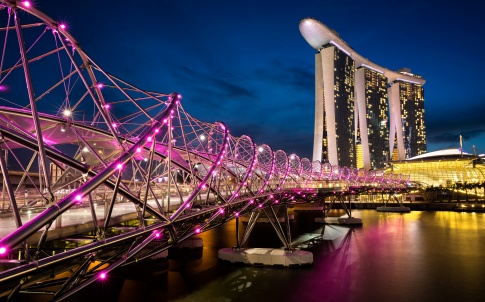 The helix bridge by night, Marina bay SingaporeSingapore city skyline by nightSingapore city skyline at dusk