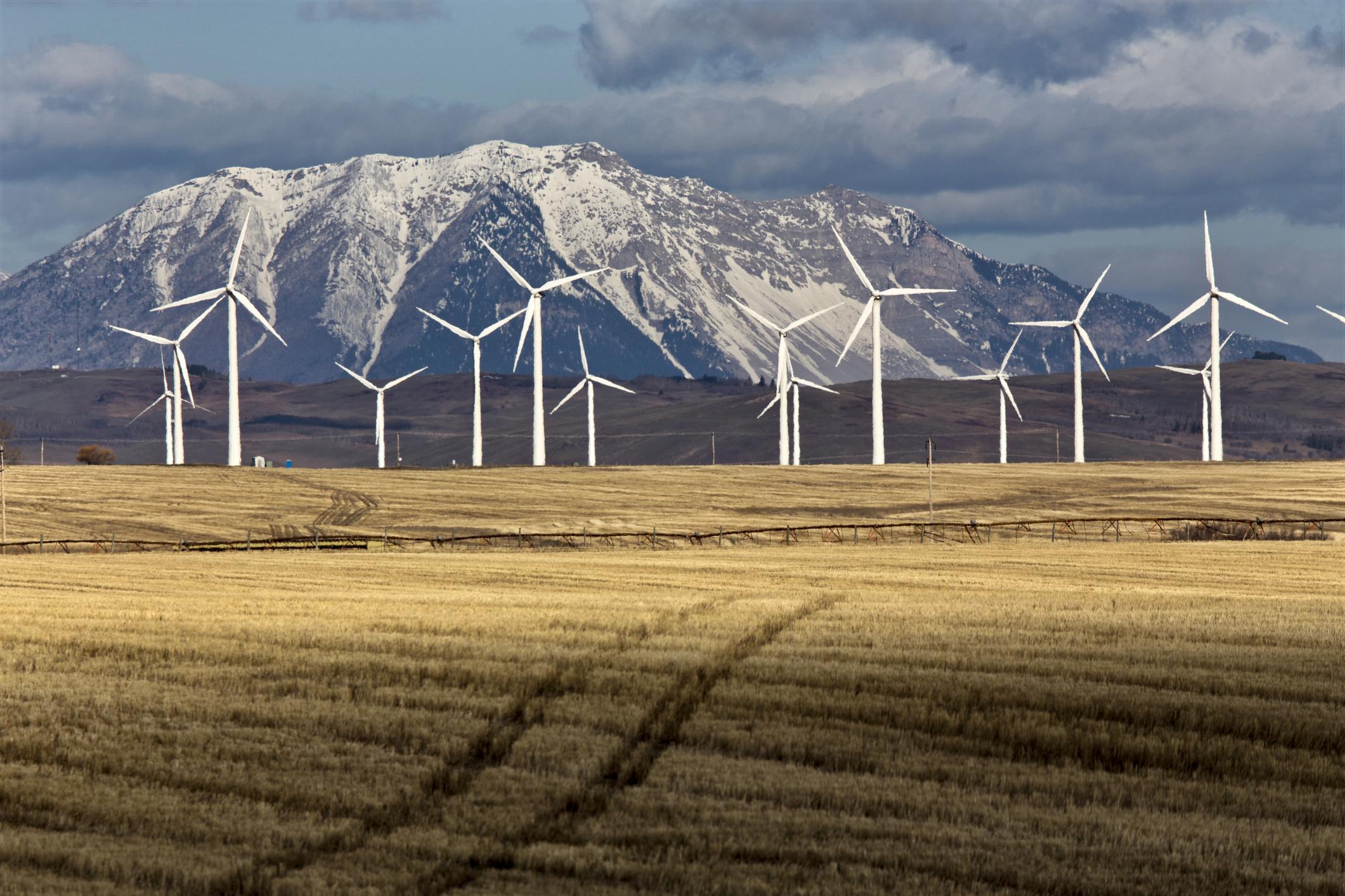 Wind Farm Canada Pincher Creek Rocky Mountains