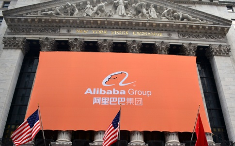 Asia business Alibaba poster hanging on the New York Stock Exchange building